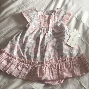 Pink & Gray elephant print dress 0-3 months